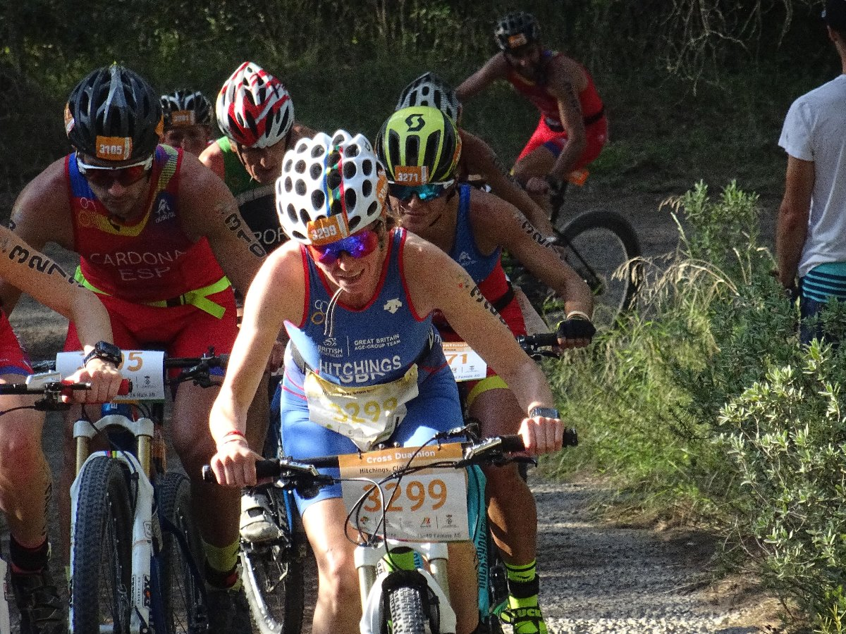 Riding on a flat tyre at European Cross Duathlon Championships in Ibiza 2018