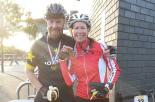 Smiles and miles with John who nicknamed me 'shadow' on this ride for sucking his wheel for 86 miles